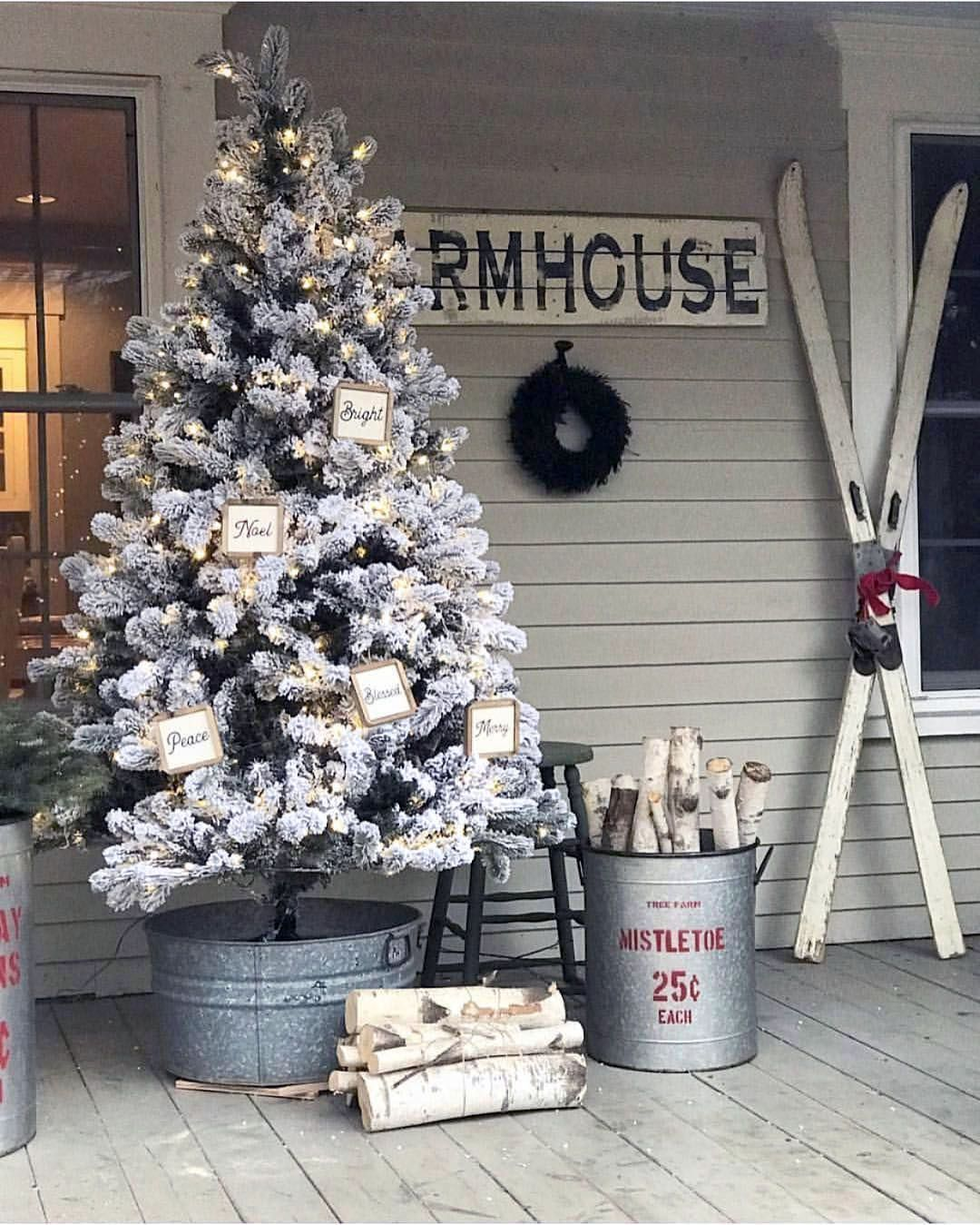Outdoor Porch Christmas Trees