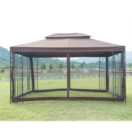 Outdoor Steel Vented Gazebo With Mosquito Netting