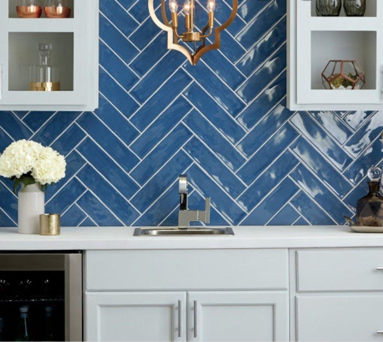 Blue Tile Backsplash Kitchen