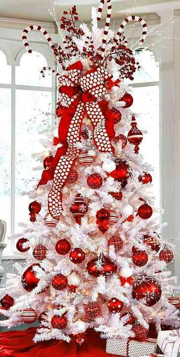 Red And White Christmas Tree Decorations