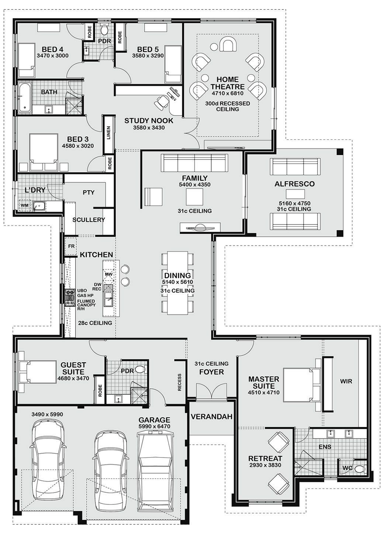 5 Bedroom Floor Plans