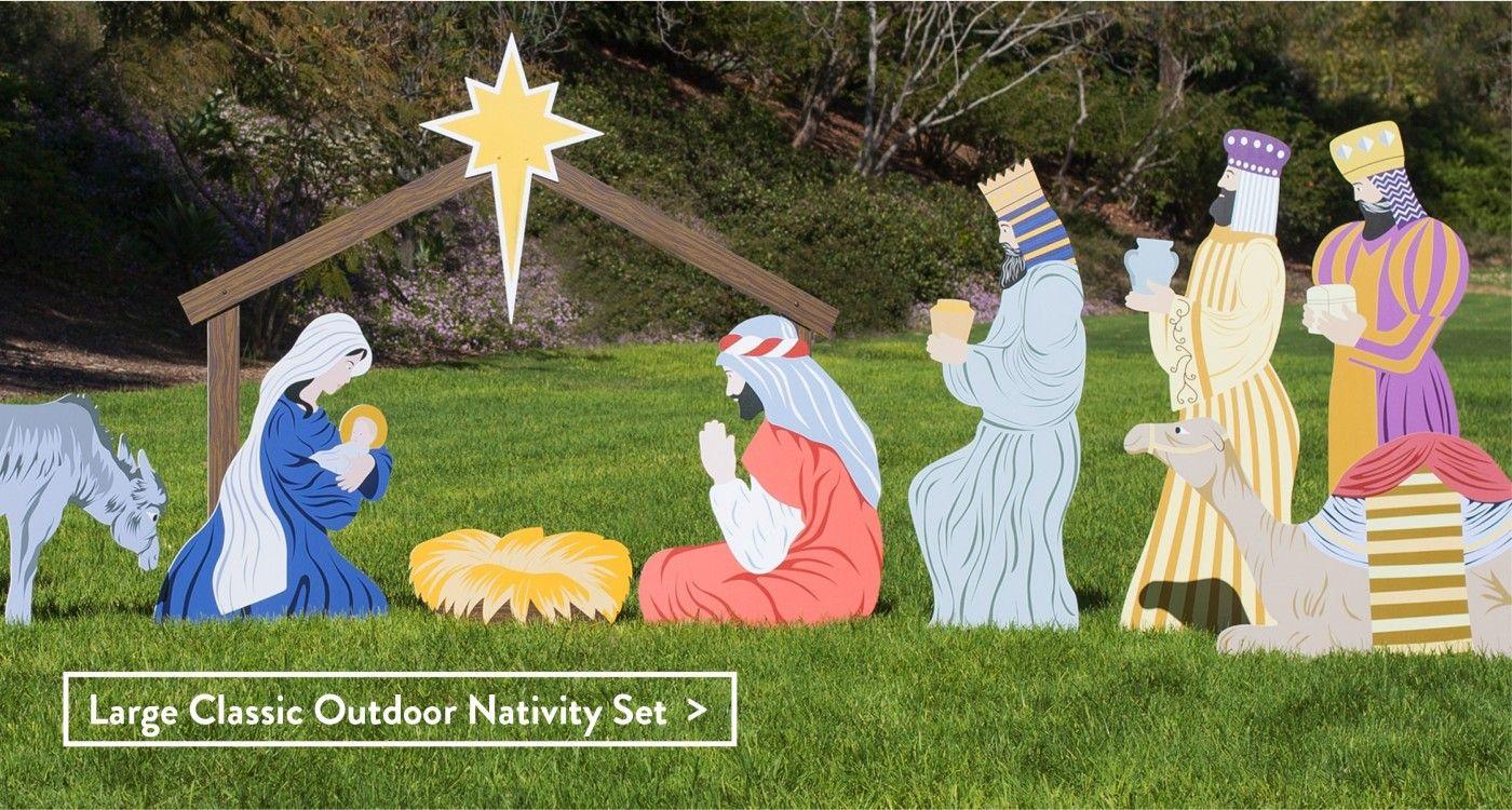 Outdoor Wooden Nativity Set
