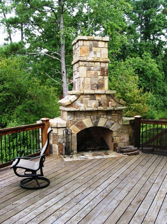 Outdoor Fireplace On Deck