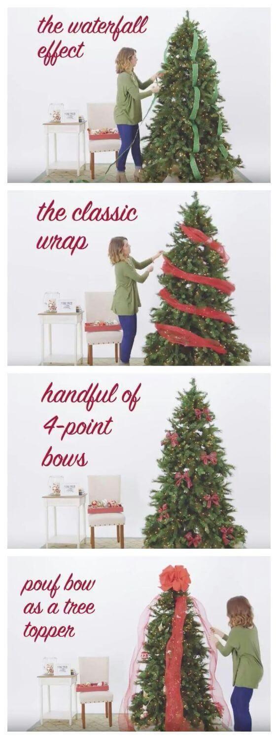 Waterfall Ribbon Christmas Tree